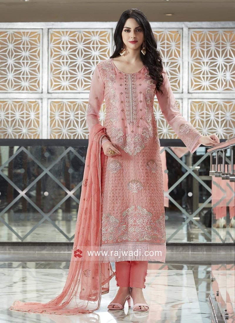 Peach Net Fabric Salwar Suit