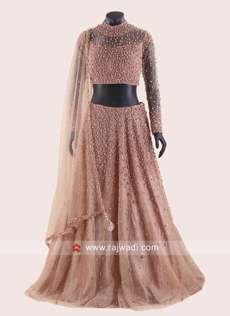 Peach Net Gorgeous Lehenga Set for Sangeet