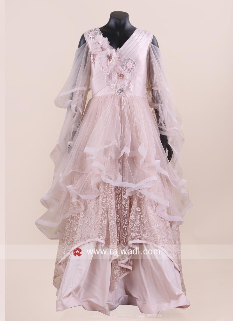 Peach Net Handkerchief Gown