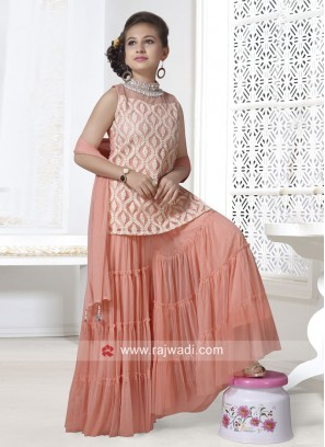 Peach Palazzo Suit for Girls