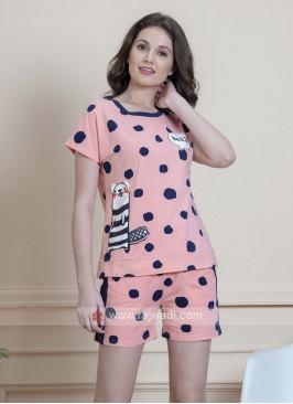 Peach polka dot night suit