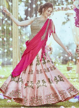 Peach Raw Silk lehenga with Stylish Dupatta