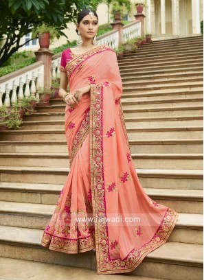Peach Sari with pink Heavy Blouse