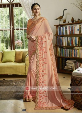 Peach Satin Saree with Cut Work Border