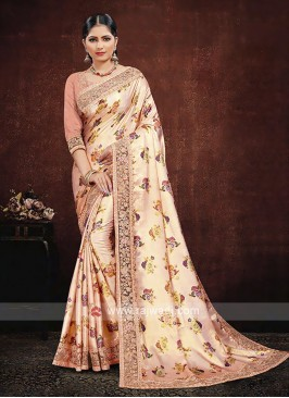 Peach Satin Silk Saree