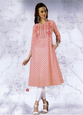 Peach Semi Anarkali Polka Dot Kurti