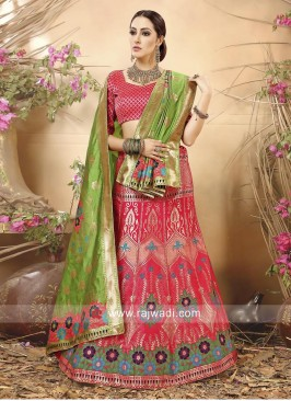 Peach Semi Stitched Lehenga Choli