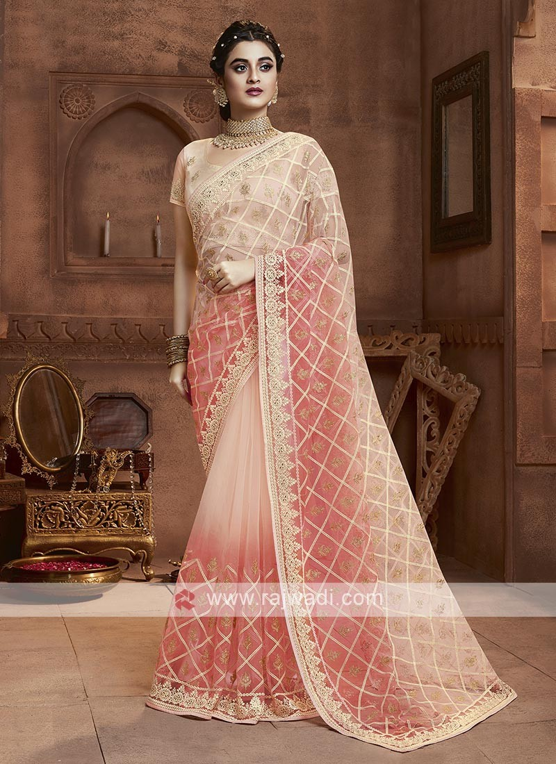 Peach Shaded Net Saree