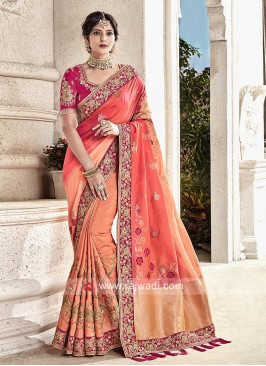 Peach Shaded Wedding Saree