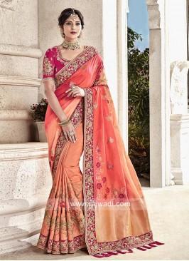 Peach Shaded Wedding Saree