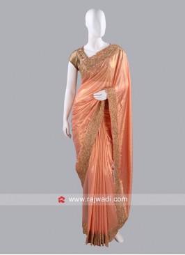 Peach Shimmer Chiffon Sari