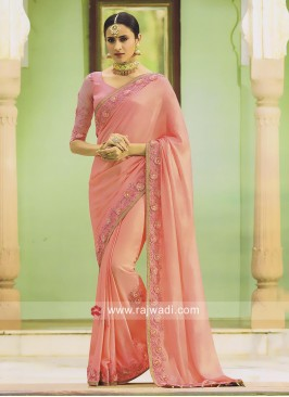 Peach Shimmer Designer Saree