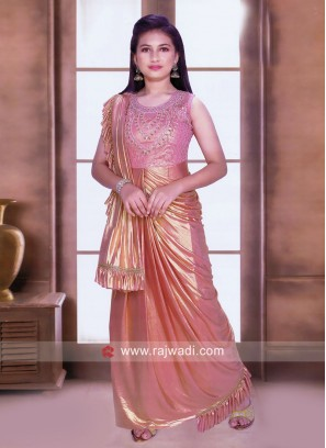 Peach Shimmer Gown with Attached Dupatta