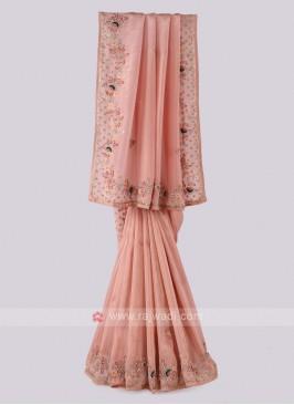 Peach Shimmer Silk Saree