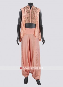 Peach Silk Fabric Dhoti Suit