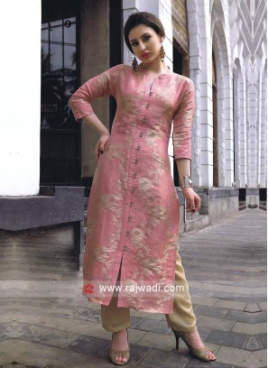 Attractive Peach silk kurti