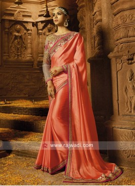 Peach Silk Saree with Embroidered Blouse