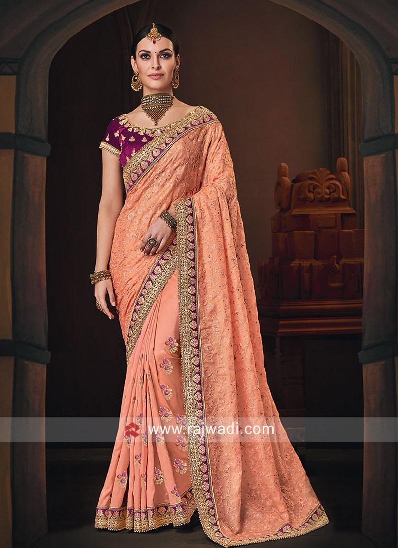 Peach Stone Work Designer Saree