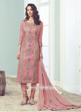 Peach Straight Fit Salwar Kameez