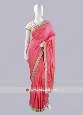 Peach Taffeta Silk Choli Saree