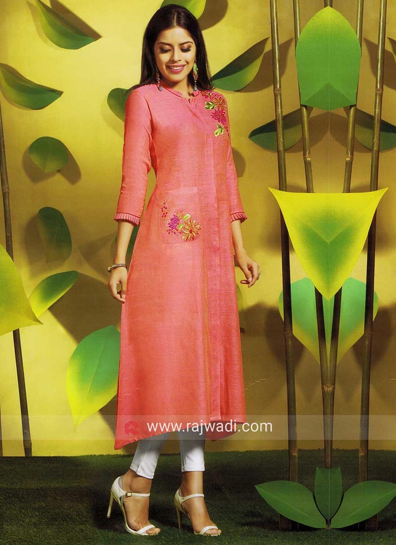 Peach Thread Embroidered Layered Kurti with Pocket