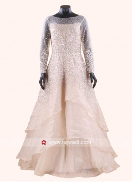 Peach Tissue Silk Layered Gown