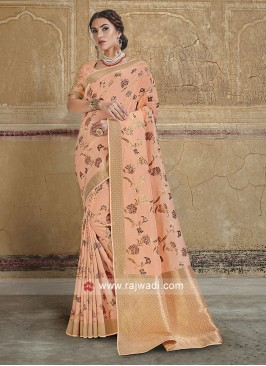 Peach Wedding Saree in Banarasi Silk