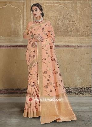 Peach Wedding Saree in Banarasi Silk