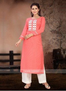 Peach & White Color Kurta Set