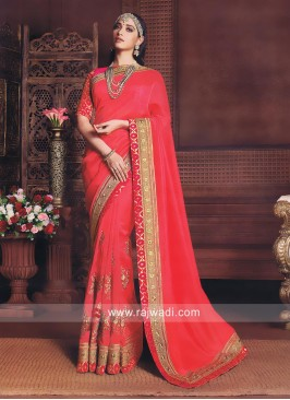 Peach Zari Work Tamannaah Bhatia Saree