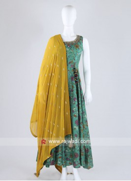 Peacock Blue Anarkali Suit With Contrast Dupatta