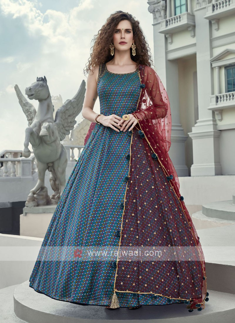 Peacock blue Anarkali Suit with Maroon Dupatta