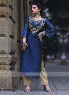 Peacock blue and beige kurti set