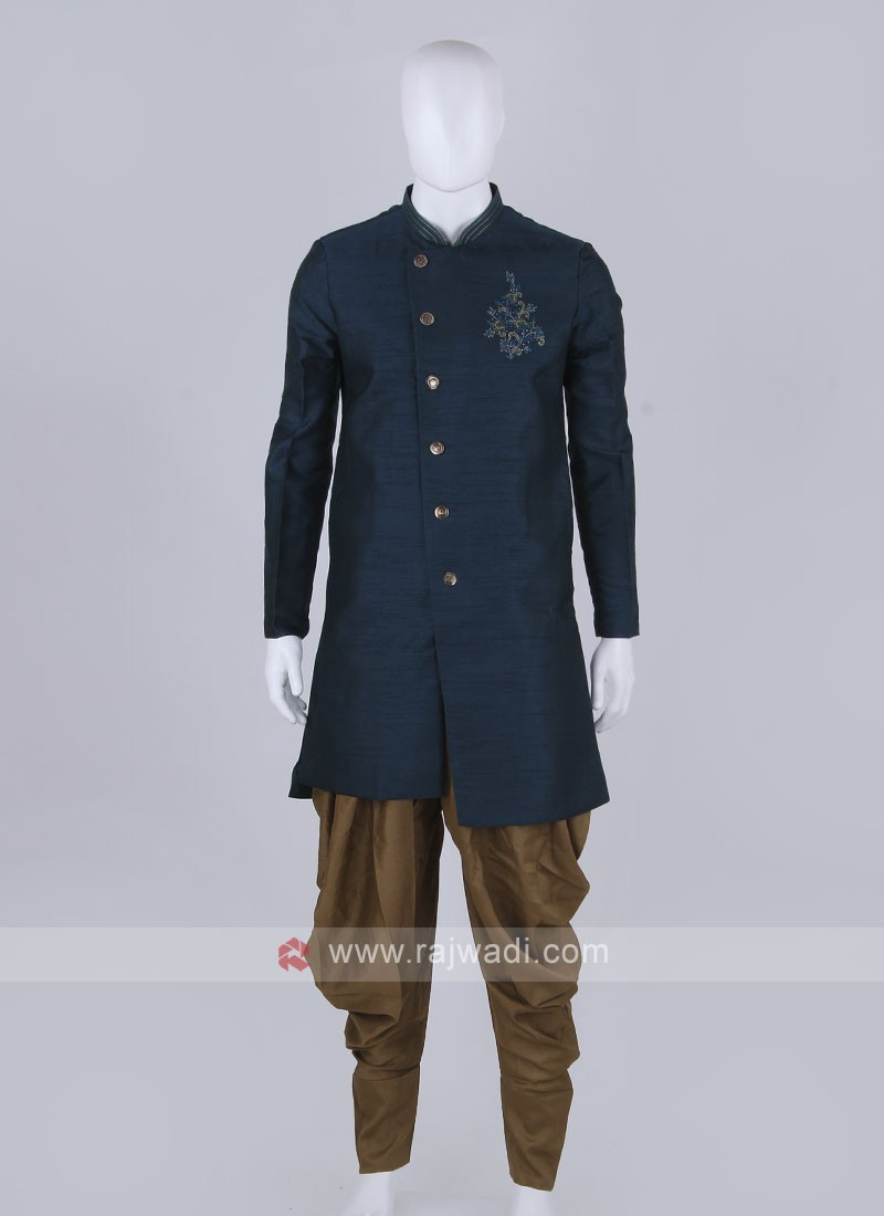 Peacock blue and golden patiala suit