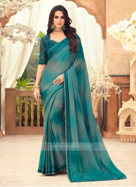 Peacock Blue And Grey Shaded Saree