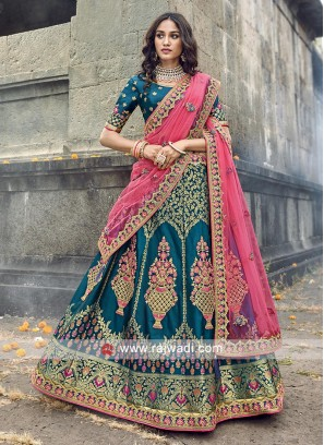 Peacock blue and light pink lehenga choli