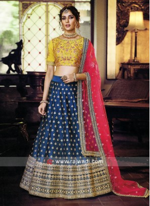 Peacock Blue and Mustard Yellow Lehenga set