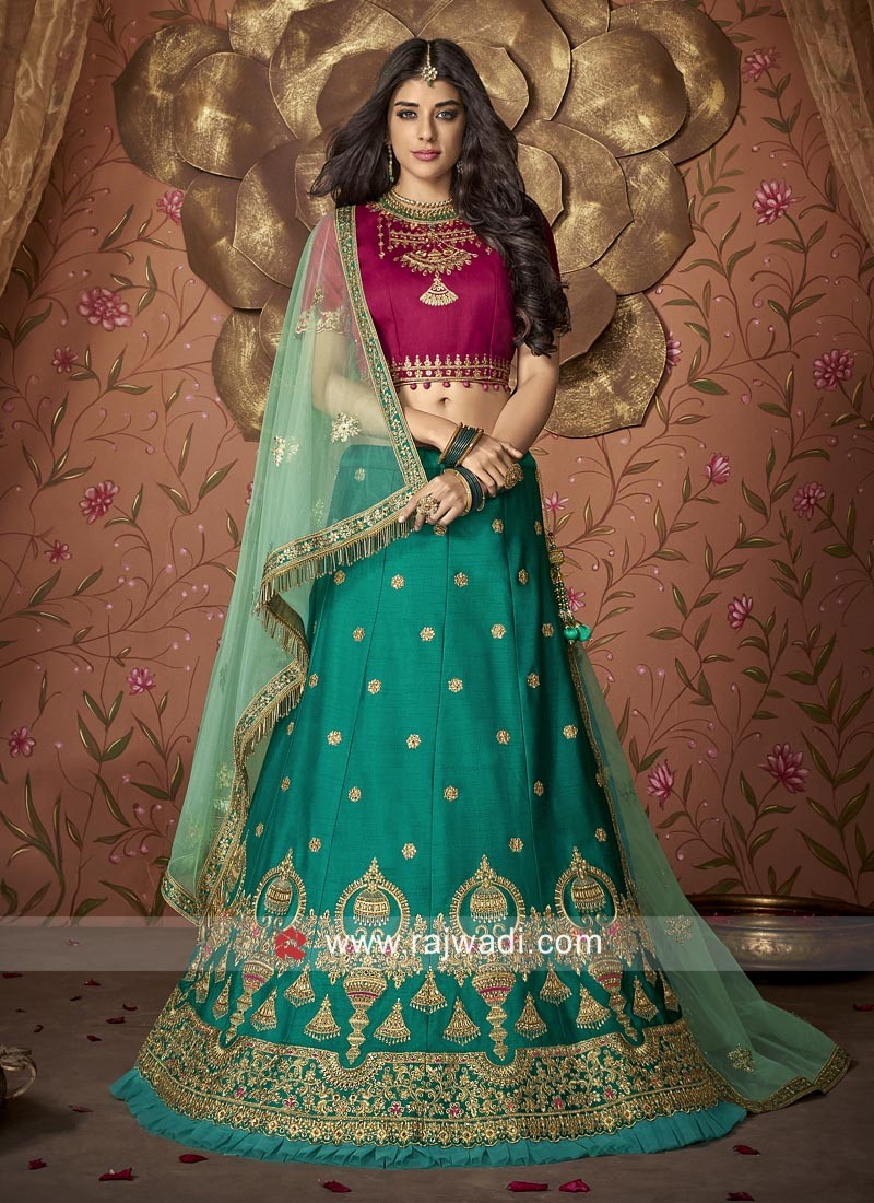 Peacock Blue and Rani Wedding Lehenga Set