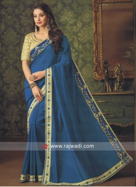 Peacock Blue Art Silk Saree