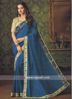 Peacock Blue Art Silk Saree
