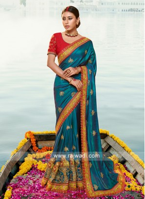 Peacock Blue art silk saree with contrast blouse.