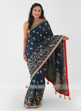 Peacock Blue Banarasi Silk Saree