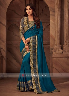 Peacock Blue Border Work Saree