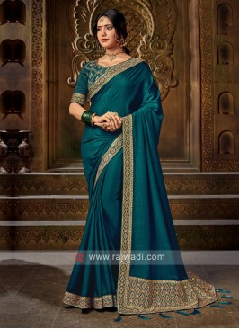Peacock Blue Color Art Silk Saree For Wedding