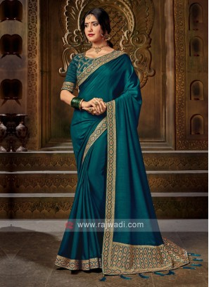 Peacock Blue Color Art Silk Saree For Wedding