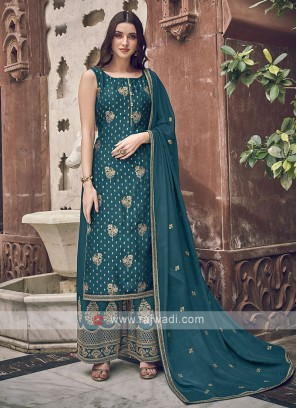Peacock Blue Color Dress Material