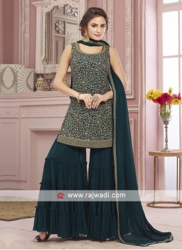 Peacock blue color gharara suit with dupatta
