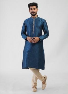 Peacock Blue Color Kurta Pajama