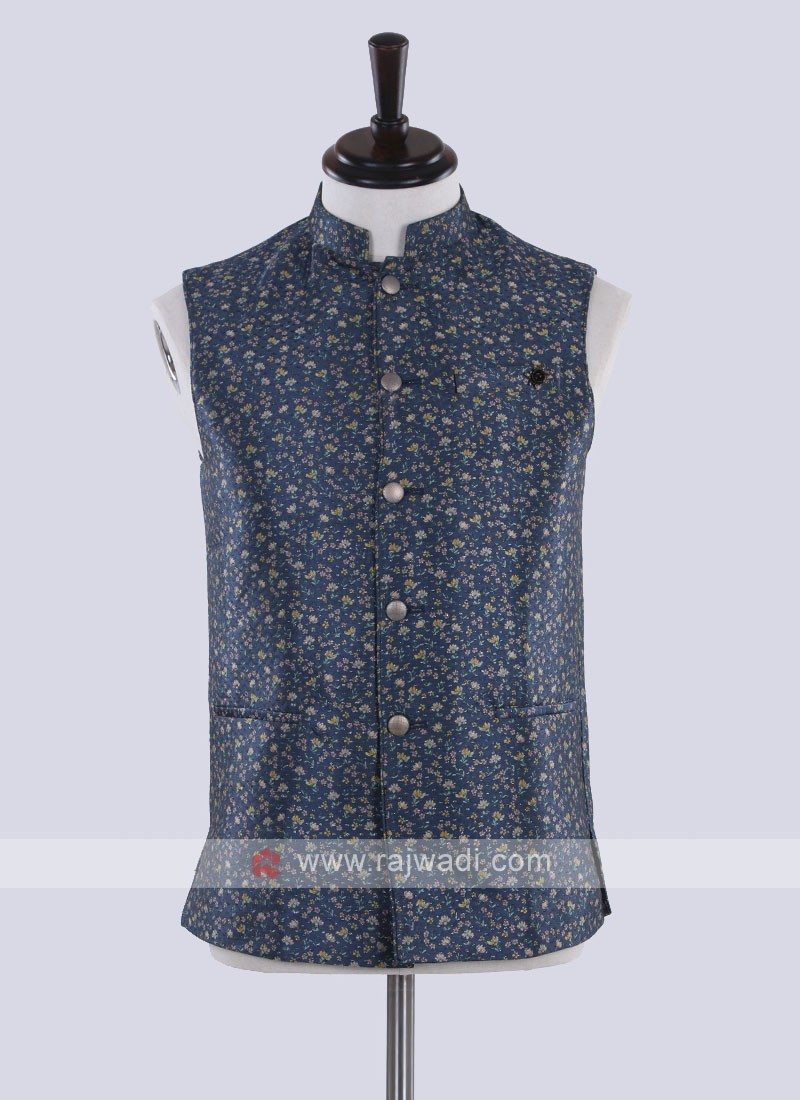 Peacock blue color nehru jacket