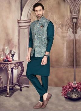 Elegant Peacock Blue Color Nehru Jacket